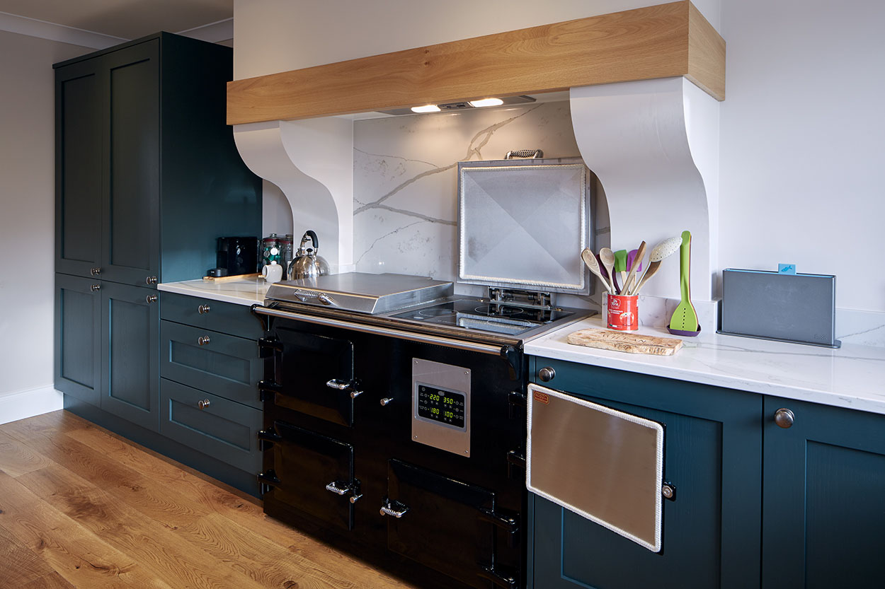 Teal blue kitchen furniture with a black integrated double stove.